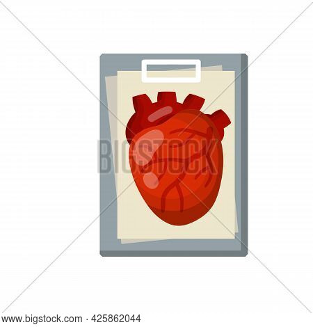 Heart. A Human Internal Organ. Medicine And Cardiology. Diagnosis And Document File In Tablet. Eleme