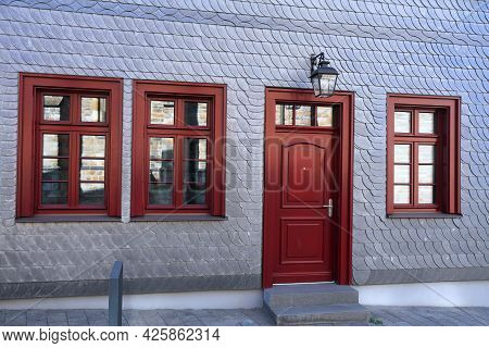 Slate Stone Building Exterior Wall Cladding In Germany. Muelheim An Der Ruhr Town In Germany.