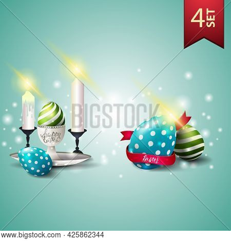 Set Of Easter Icons, Easter Eggs, Candles And Easter Eggs