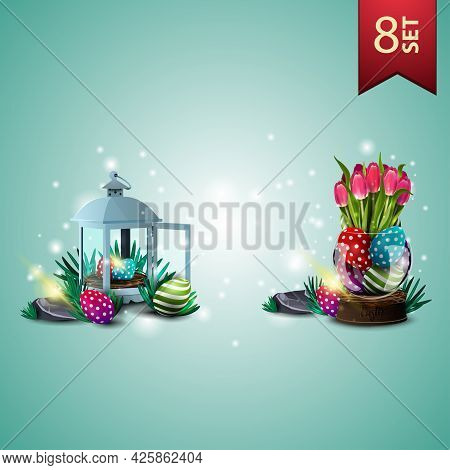 Set Of Easter Icons, Antique Lantern With Easter Eggs And Vase With Easter Eggs And Tulips