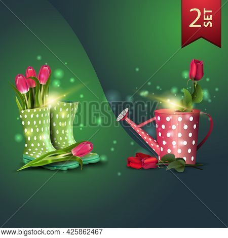 Set Of Icons For Spring Celebrations, Tulips In Women's Rubber Boots And Rose In The Watering Can