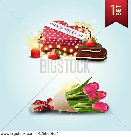 Set Of Icons For Mother's Day, Gift In The Shape Of A Heart And Bouquet Of Tulips