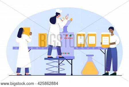Male And Female Pharmacists Working At Huge Production Line Machine. Conveyor Belt With Pills. Conce