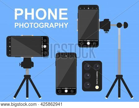 Phone Photography With Tripod And Remote Control On Blue Background. Concept Of Mobile Smartphone Ca