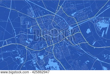 Detailed Map Of Groningen City Administrative Area. Cityscape Panorama. Decorative Graphic Tourist M
