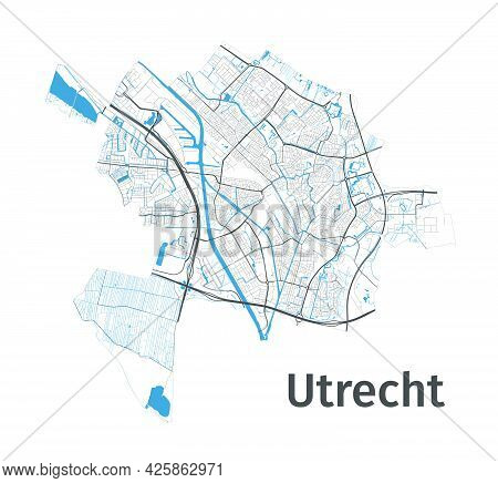 Utrecht Map. Detailed Map Of Utrecht City Administrative Area. Cityscape Panorama. Royalty Free Vect
