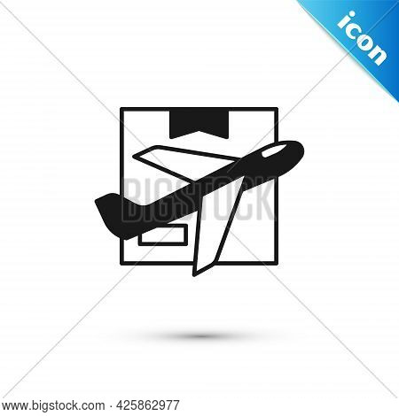 Grey Plane And Cardboard Box Icon Isolated On White Background. Delivery, Transportation. Cargo Deli