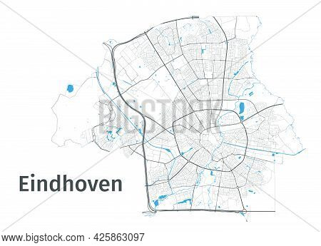 Eindhoven Map. Detailed Map Of Eindhoven City Administrative Area. Cityscape Panorama. Royalty Free