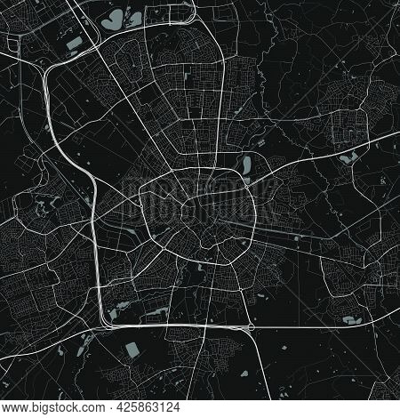 Urban City Map Of Eindhoven. Vector Illustration, Eindhoven Map Grayscale Art Poster. Street Map Ima