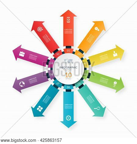Modern Business Infographic Circle With 10 Arrows Pointing From The Center. 10-step Vector Template