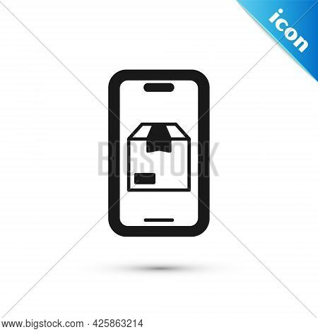 Grey Mobile Smart Phone With App Delivery Tracking Icon Isolated On White Background. Parcel Trackin