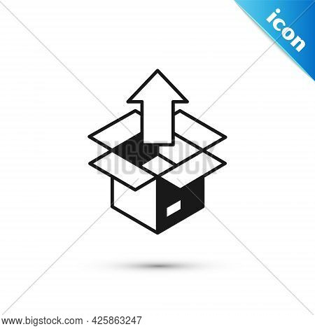 Grey Unboxing Icon Isolated On White Background. Vector