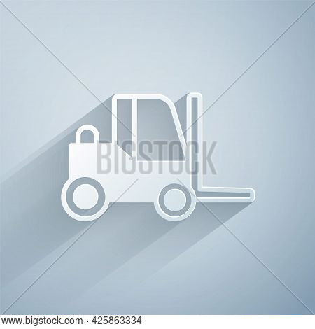 Paper Cut Forklift Truck Icon Isolated On Grey Background. Fork Loader And Cardboard Box. Cargo Deli