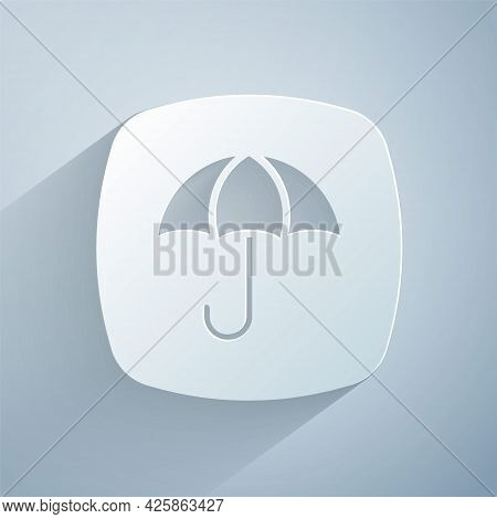 Paper Cut Delivery Package With Umbrella Symbol Icon Isolated On Grey Background. Parcel Cardboard B