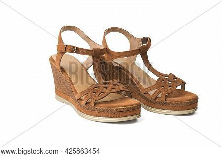 A Pair Of Women's Summer High-heeled Sandals Isolated On A White Background. Summer Shoes For Women.