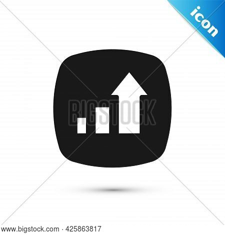 Grey Financial Growth Increase Icon Isolated On White Background. Increasing Revenue. Vector
