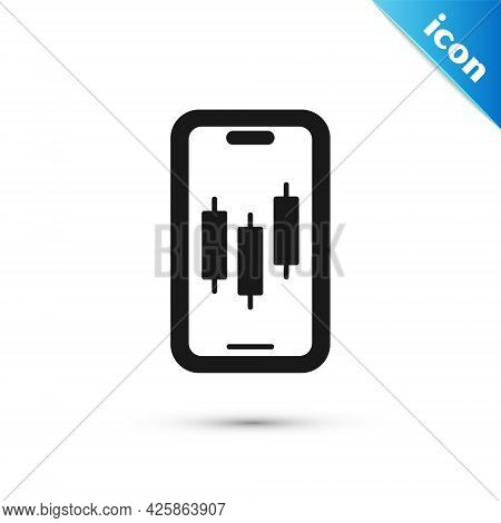 Grey Mobile Stock Trading Concept Icon Isolated On White Background. Online Trading, Stock Market An