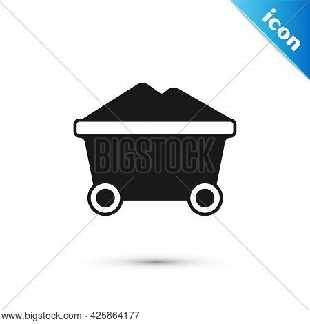 Grey Coal Mine Trolley Icon Isolated On White Background. Factory Coal Mine Trolley. Vector