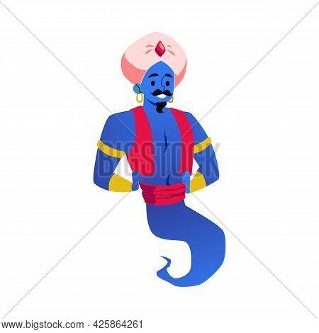 Fairy Arabian Genie Character In Turban, Flat Flat Vector Illustration Isolated.