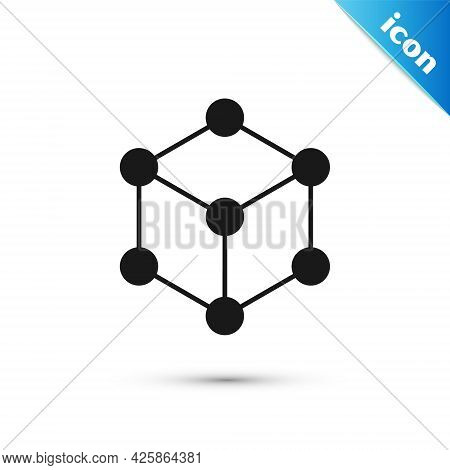 Grey Molecule Icon Isolated On White Background. Structure Of Molecules In Chemistry, Science Teache