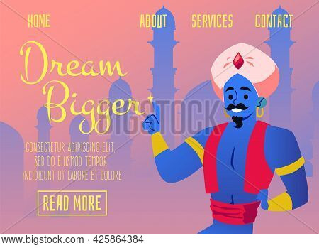 Banner For Website With Fairy Arabian Genie, Flat Vector Illustration.