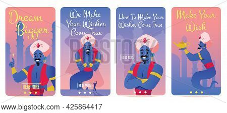 Set Banners On Wish Fulfillment And Dream With Genie, Flat Vector Illustration.