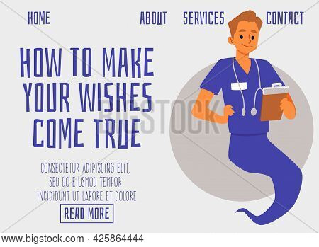 Website With Genie As Doctor Or Healthcare Professional Flat Vector Illustration.