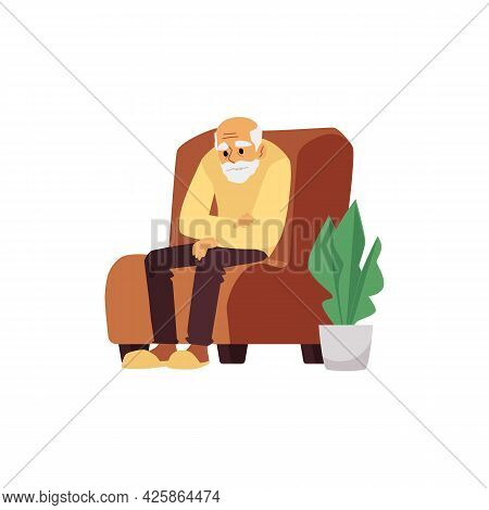 Tired Elderly Man Resting In Chair, Flat Vector Illustration Isolated On White.