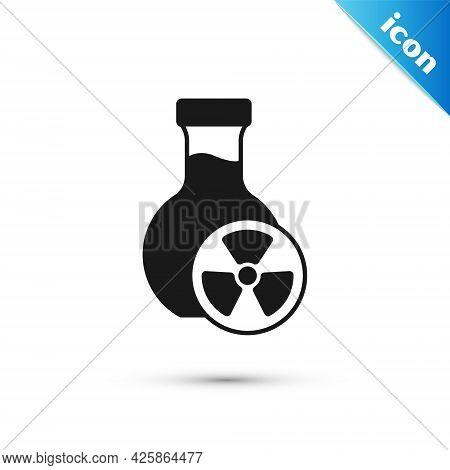 Grey Laboratory Chemical Beaker With Toxic Liquid Icon Isolated On White Background. Biohazard Symbo
