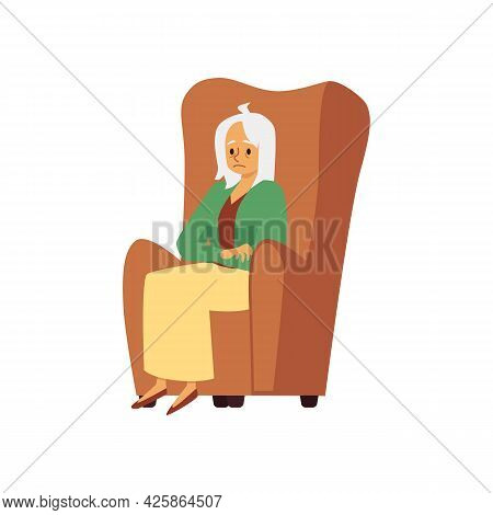 Tired Sad Aged Woman Sit In Armchair A Flat Vector Illustration.