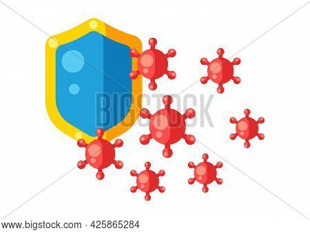 Health Care And Protection From Virus. Concept Illustration. Immunization Protect.