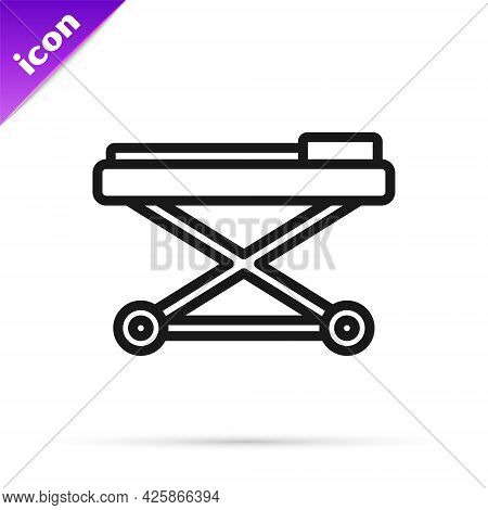 Black Line Stretcher Icon Isolated On White Background. Patient Hospital Medical Stretcher. Vector