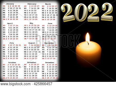 Calendar For 2022 With Us Holidays With A Photo Of A Hot Candle In The Dark. Wall Or Desk Calendar F