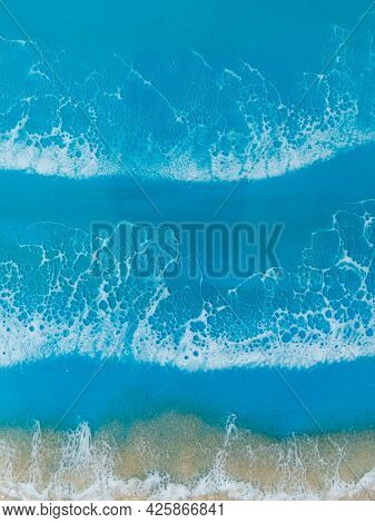 Resin Art With Blue Ocean Waves And Beach. Sea Background Of Epoxy Resin Art