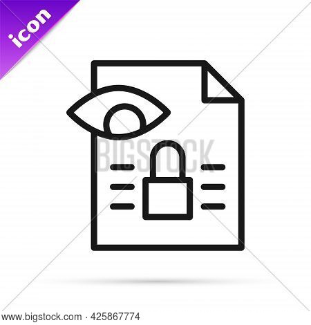 Black Line Journalistic Investigation Icon Isolated On White Background. Financial Crime, Tax Evasio