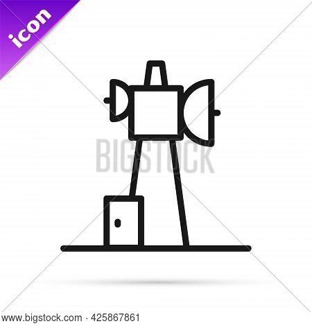 Black Line Antenna Icon Isolated On White Background. Radio Antenna Wireless. Technology And Network