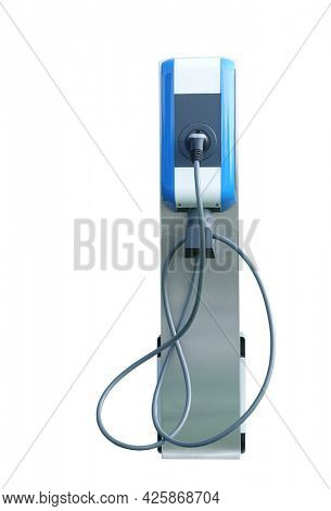 Fast electric car charger green energy environment friendly driving vehicle station. Modern transport fuel of future. Minimal design power unit isolated on white