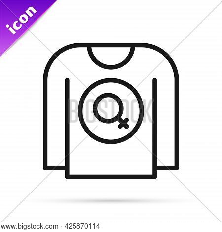 Black Line Feminist Shirt Icon Isolated On White Background. Fight For Freedom, Independence, Equali