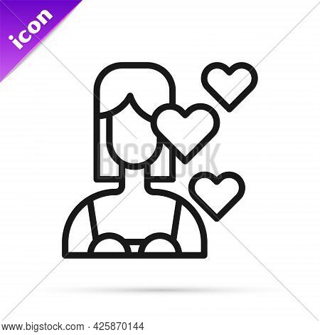 Black Line Love Yourself Icon Isolated On White Background. Self Love. Self Care And Happiness. Vect