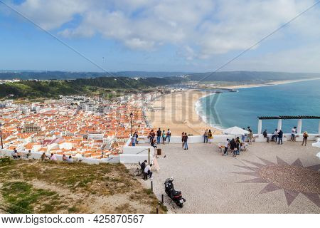 Nazare, Portugal - July 2, 2021 : Nazare town and beach from Sitio, Portugal