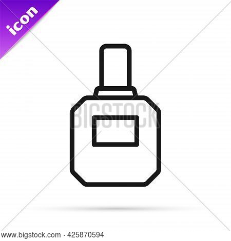 Black Line Aftershave Icon Isolated On White Background. Cologne Spray Icon. Male Perfume Bottle. Ve