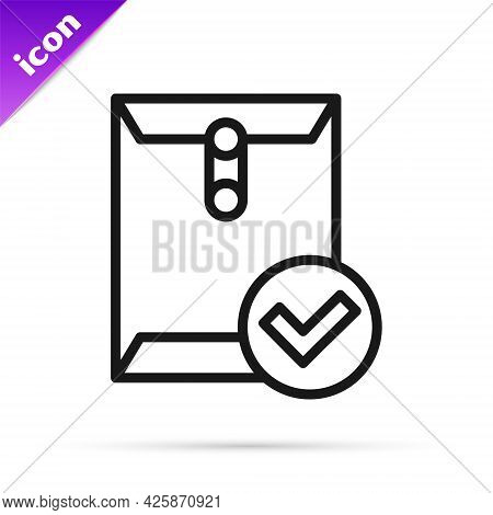 Black Line Envelope And Check Mark Icon Isolated On White Background. Successful E-mail Delivery, Em