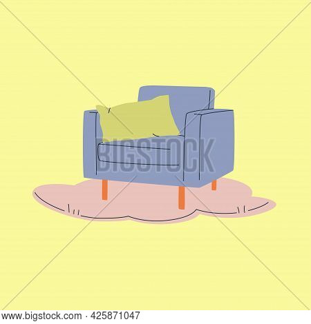 Armchair And Pillow On Rug Or Carpet. Modern Vintage Vector Illustration. Cozy Home Or Interior Conc