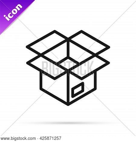 Black Line Unboxing Icon Isolated On White Background. Vector