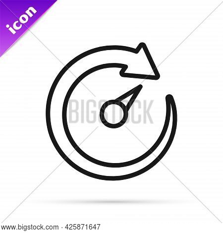 Black Line Digital Speed Meter Icon Isolated On White Background. Global Network High Speed Connecti