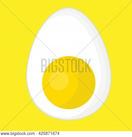 Half A Boiled Egg With A Yolk For Breakfast.