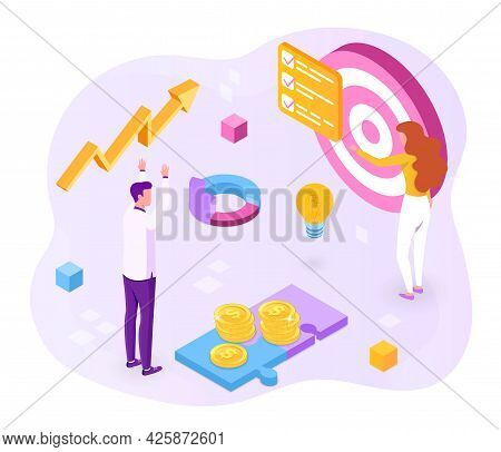 Concept Of Achieving Business Goals. The Characters Carry Out A Plan Aimed At Achieving A Good Resul