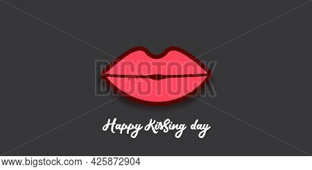 Happy Kissing Day Horizontal Banner With Cartoon Glossy Red Lips Isolated On Grey Background. Kiss D