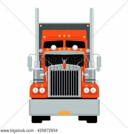 Red Semi Truck, Front View, Flat Style, Usa Truck
