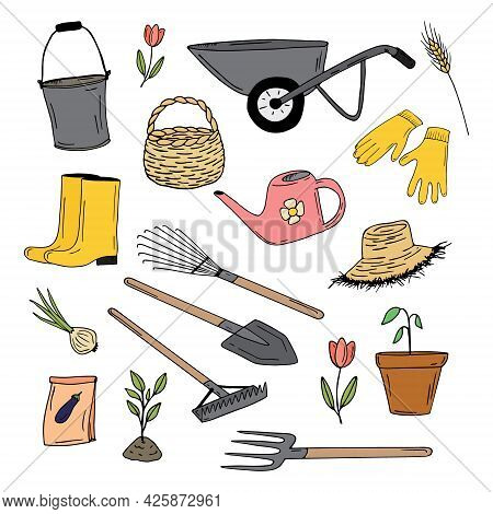 Garden Doodle Collection. Garden Tools And Plants. Hand-drawn Color Vector Bucket, Basket, Wheelbarr